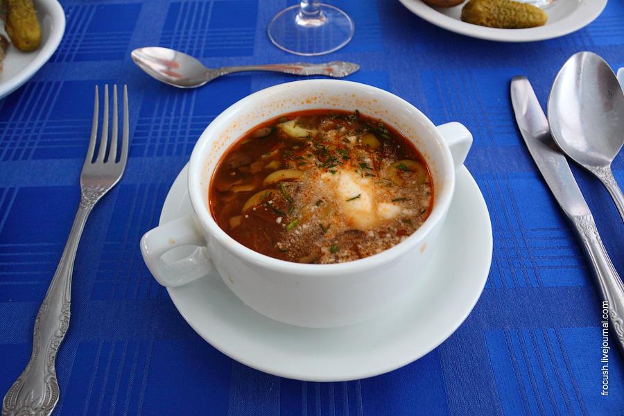 Солянка «Домашняя» (с ветчиной, мясом, субпродуктами и консервированными огурцами) со сметаной