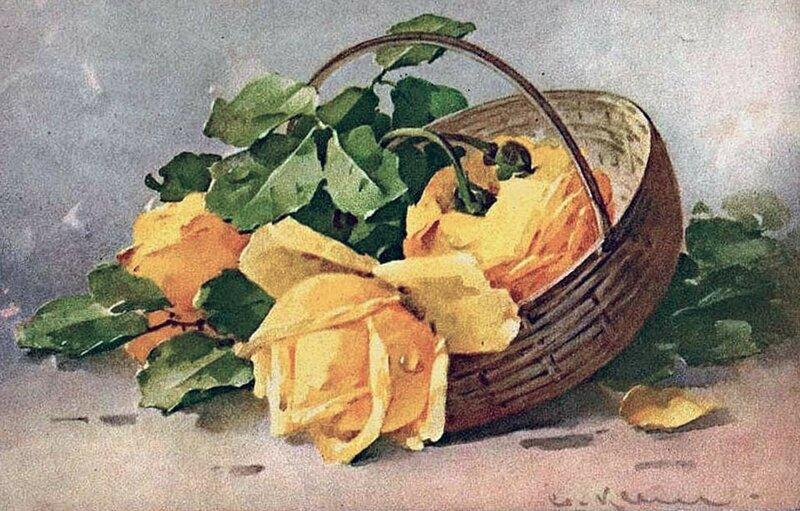 К. Кляйн. 19. Жёлтые розы в корзине.