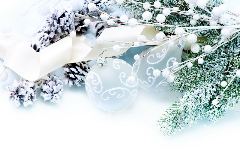 Christmas Decorations over White