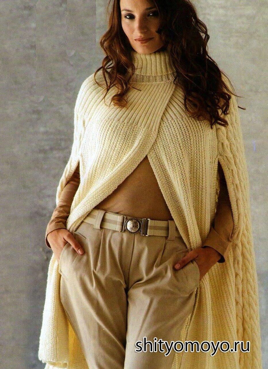 Вязание спицами кейп для женщин