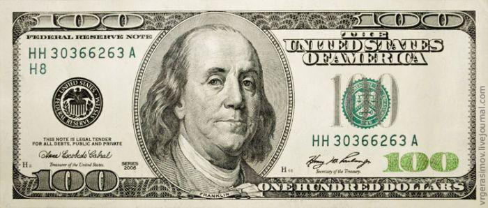 100-долларовая купюра в режиме макро