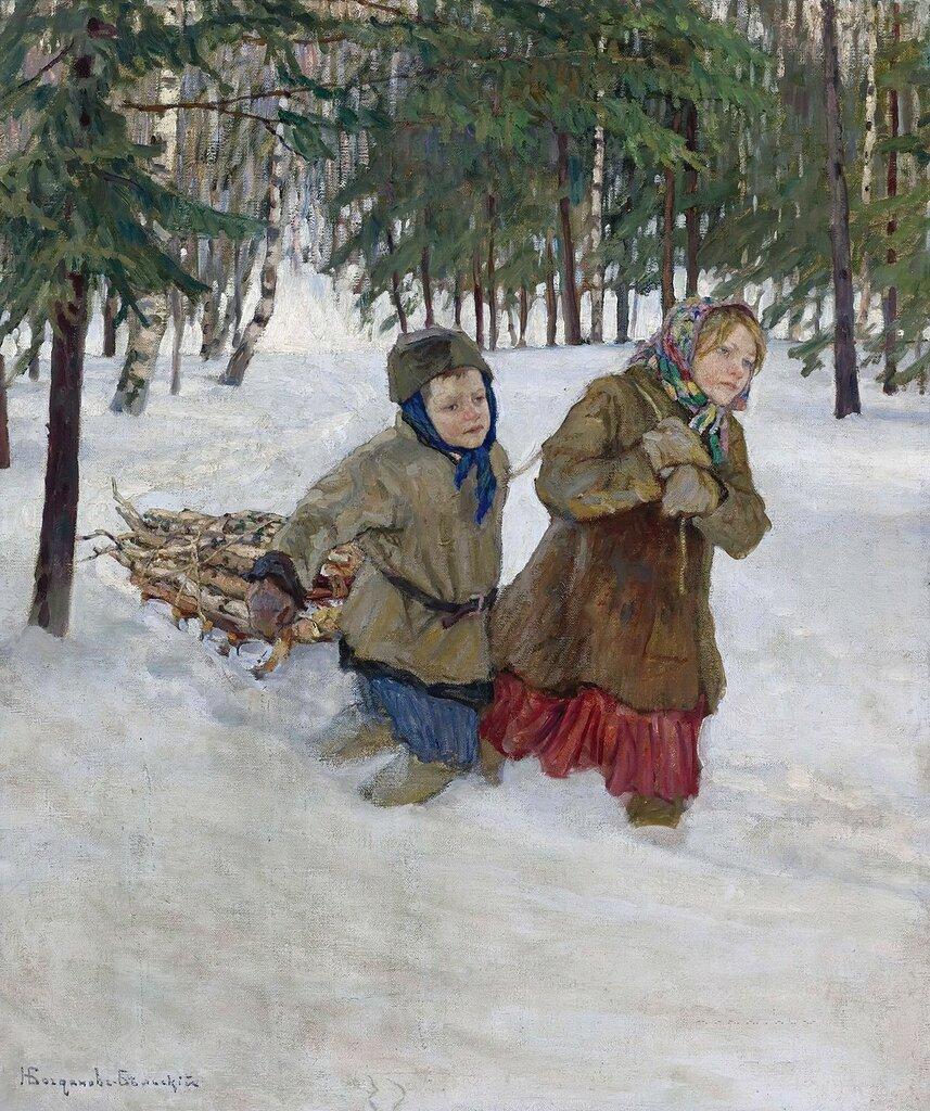 Богданов-Бельский: Везущие дрова по снегу
