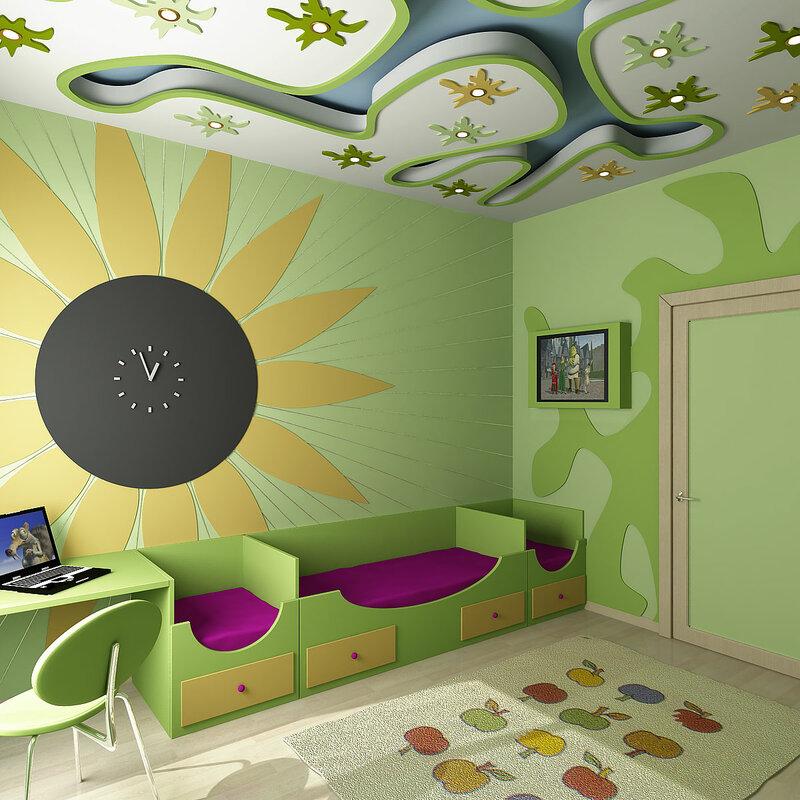 интерьер комнаты для семьи с ребенком.