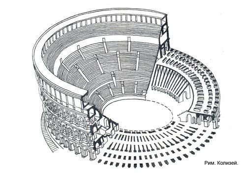 Колизей в Риме, аксонометрический разрез