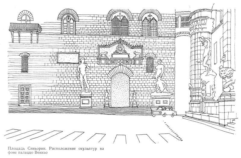 Площадь Синьории во Флоренции, расположение скульптур на фоне палаццо Веккьо