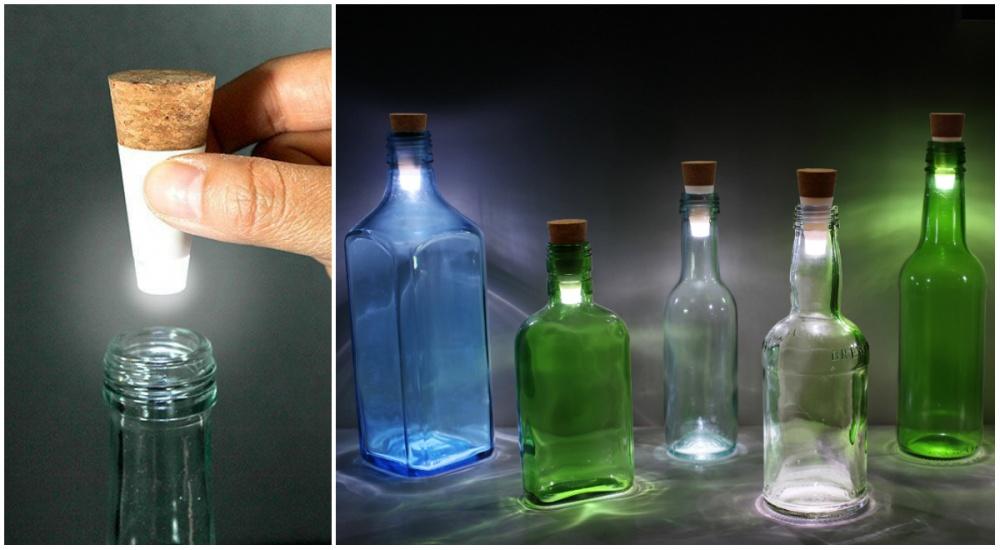 Спомощью такой штуки, как LED Bottle Cork, можно превратить пустые бутылки внастольные лампы. Выпо