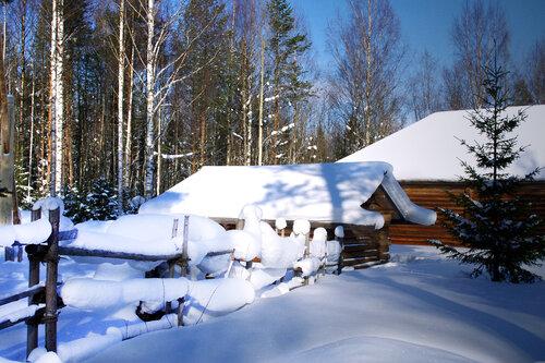 Покровом снежным, бело-синим вокруг окутала зима...