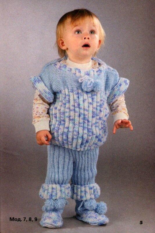 Вязание спицами.  Галерея детских моделей со схемами и описанием.  Дети от 0 до 3 лет.