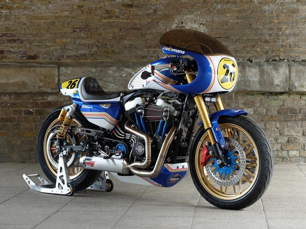 Warr's H-D: кафе рейсер Harley-Davidson Sportster JT26 Rascal Racer