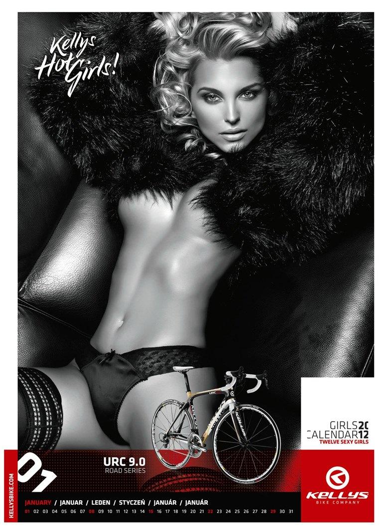 Обнаженные девушки в календаре производителя велосипедов Kellys на 2012 год - январь