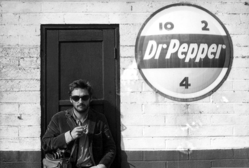"""Dennis Hopper in front of a Dr Pepper sign,"" –Robert Walker Jr., 1965"