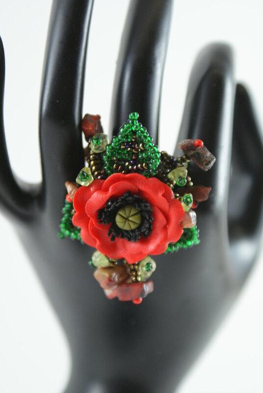 """Кольца ручной работы.  Ярмарка Мастеров - ручная работа Кольцо """"Маки """".  Handmade."""
