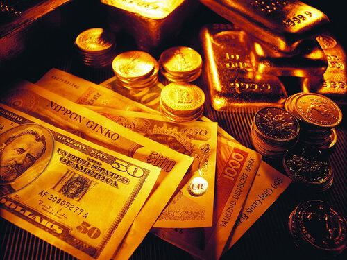 Обои, Разные деньги, Золотые слитки, Банкноты, Купюры, Золото, Слитки...