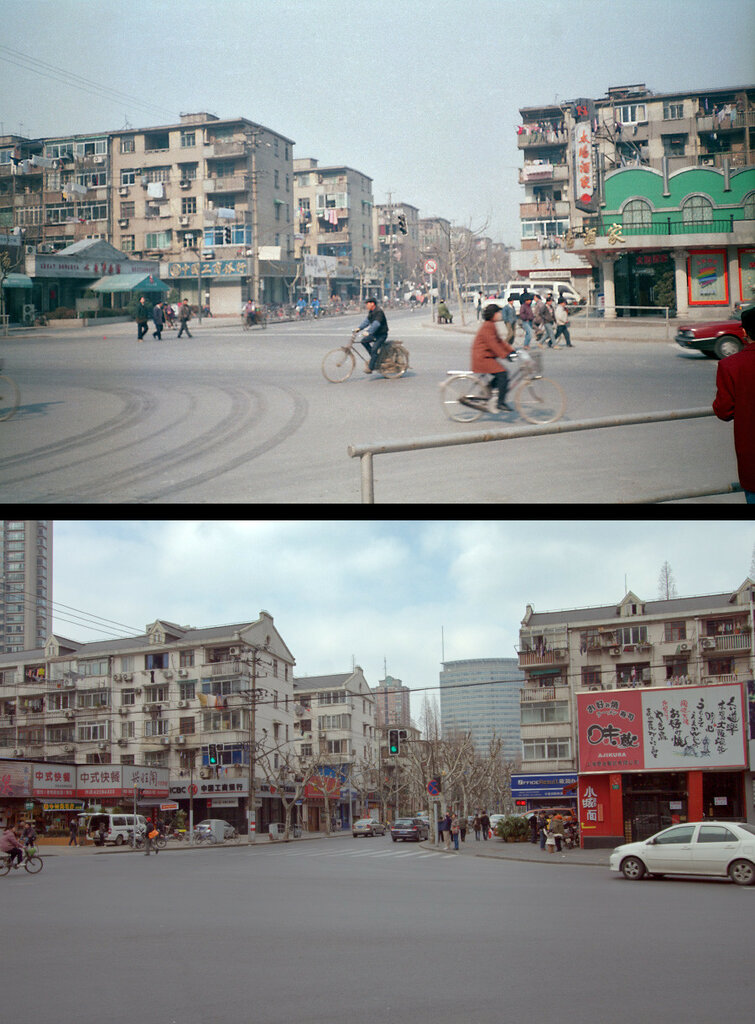 Shanghai 1996 (left) and 2010 (right).jpg