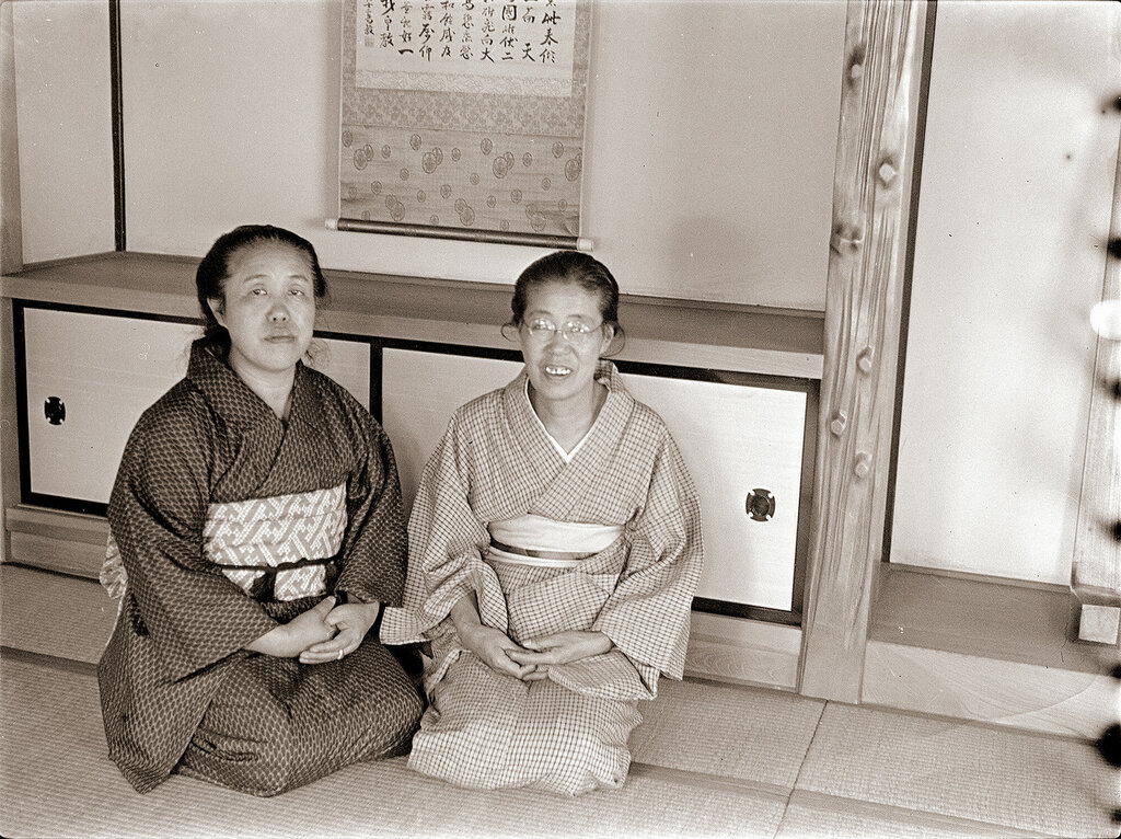 Two Women in Kimonos Sitting, 1930s Japan.
