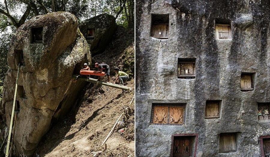 7. Хоронятся усопшие в специальных углублениях в скалах.