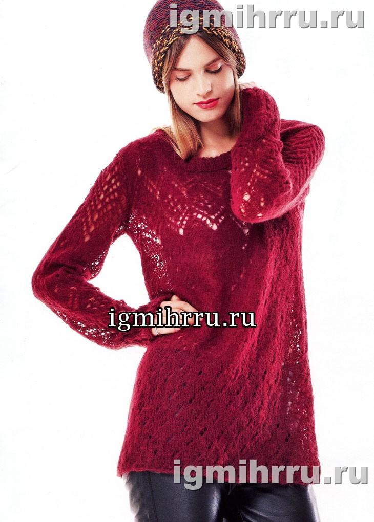 Нежный малиновый пуловер с ажурными узорами. Вязание спицами