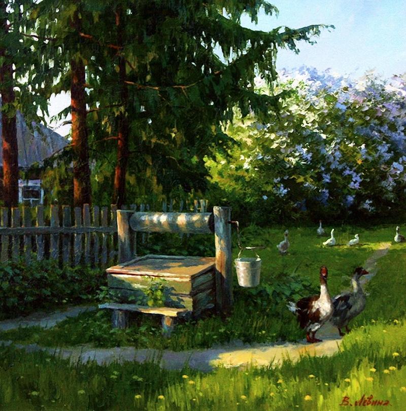 Картинки утро в деревне весна, стихи рисунках открытки