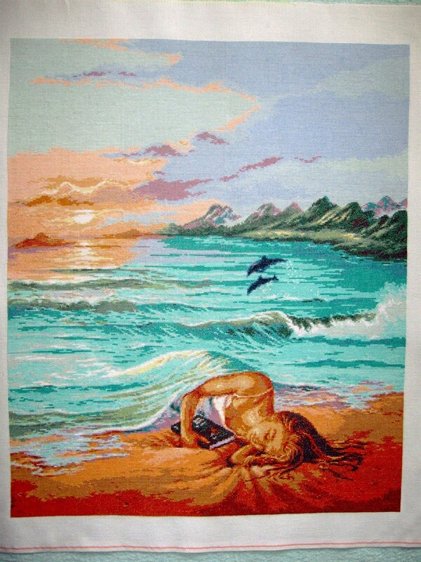 """Вышивка по картине Джима Уоррена """"Сон на плаже """".  Размер готовой работы 290*350 крестиков(52*63 см),схема из интернета..."""