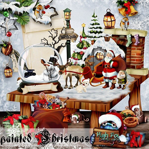 Scrap kit Painted Cristmas