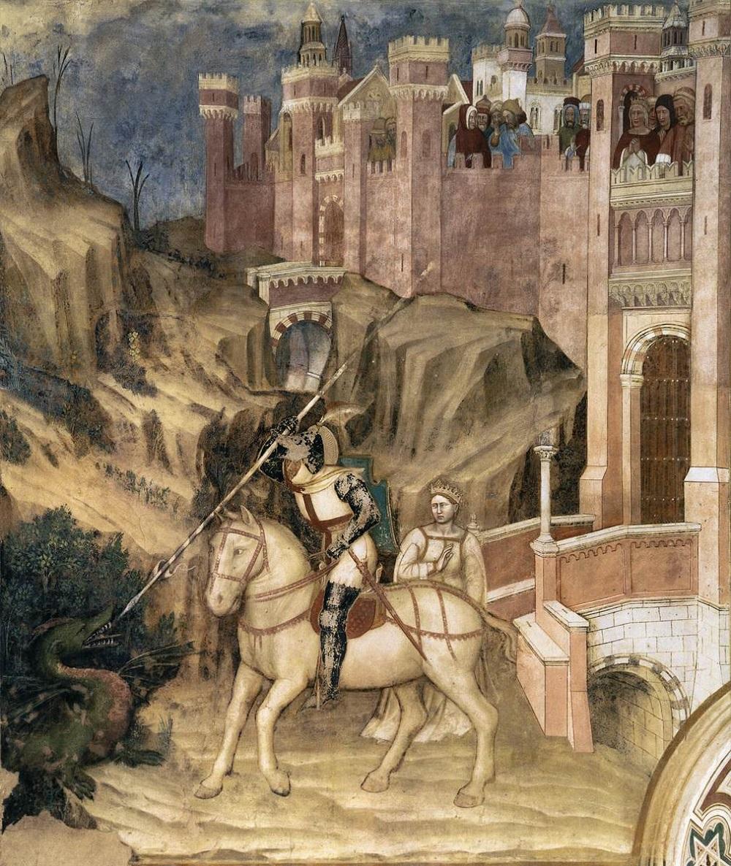 1360 Альтикьеро да Дзевио Святой Георгий побеждает дракона 1378-1384 Фреска Капелла Саг-Джорджия, Падуя.jpg