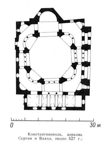 План церкви Сергия и Вакха в Константинополе, Византия
