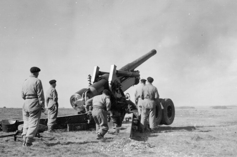 M115 8-inch howitzer 6; at full recoil after firing. [P1-381-1841]  http://uhcl.recollect.co.nz/nodes/view/1038#idx941