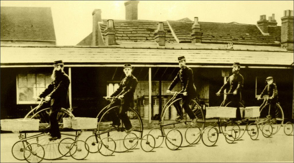 Postmen Riding Pentacycles, ca. 1882.jpg