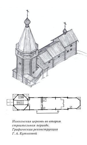 Никольская церковь и колокольня, Вегорукса, Карелия, чертежи