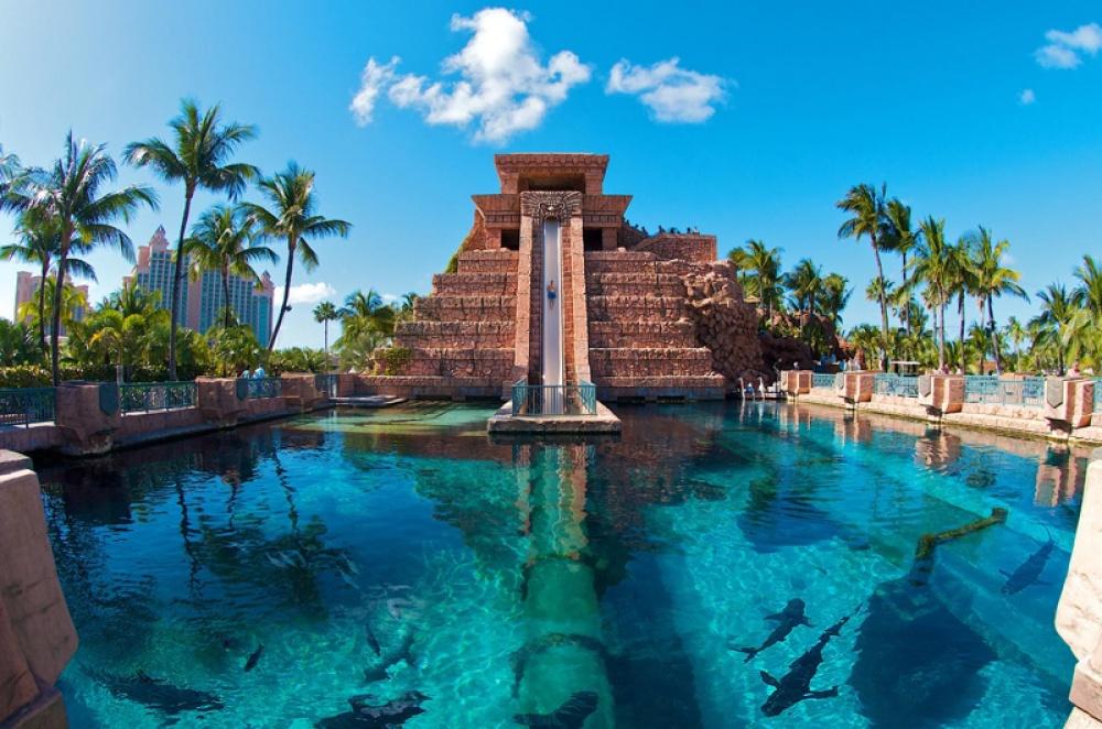 Leap ofFaith, Багамы. С30-метровой высоты можно прыгнуть втуннель, проложенный вбассейне сакула