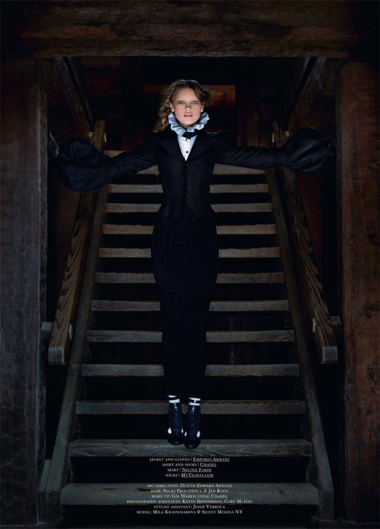 Mila Krasnoiarova by Stevie and Mada / Мила Красноярова в образе кающейся грешницы в журнале Tank Magazine, осень 2011