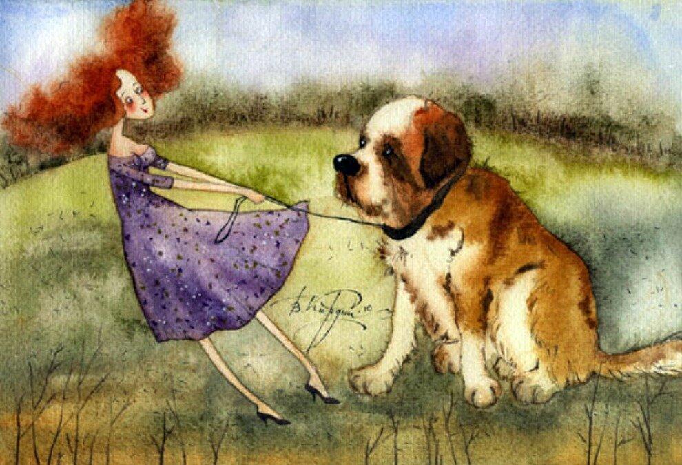 Надписями, открытки девочка с собакой