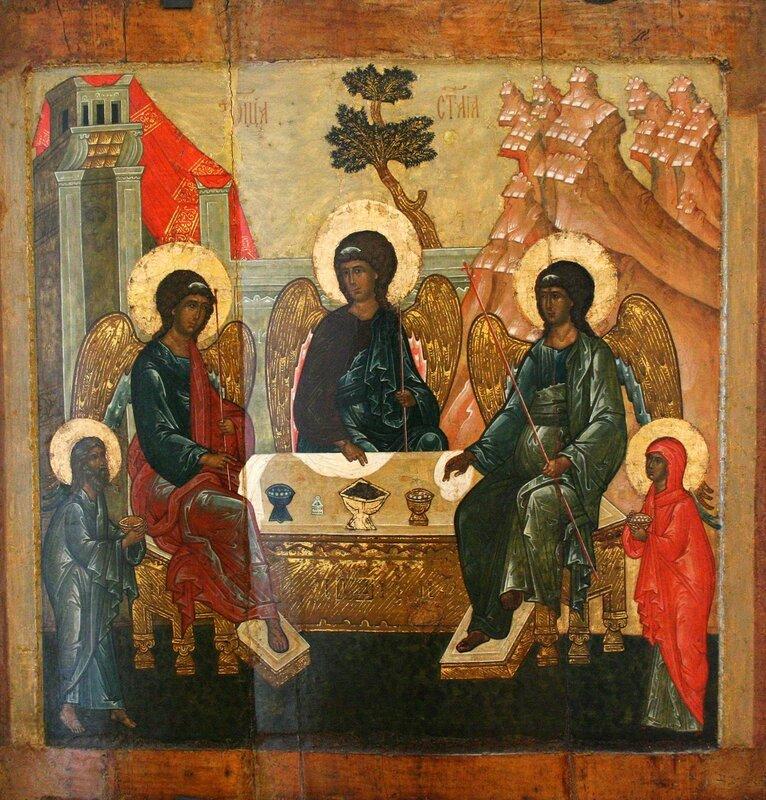Святая Троица (Гостеприимство Авраама). Икона. Ярославль, середина XVI века.