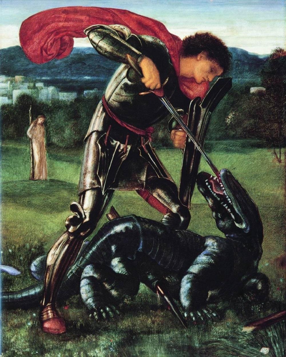 1868 Берн-Джонс, Эдуард Коли Святой Георгий и дракон 1868 холст масло Галерея Уильяма Морриса, Лондон.jpg