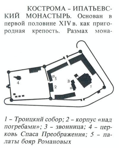 Ипатьевский монастырь в Костроме, генплан комплекса