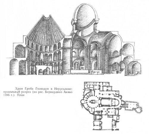 Храм Гроба Господня в Иерусалиме, план и разрез, по рисунку Бернардино Амико 1596 г.