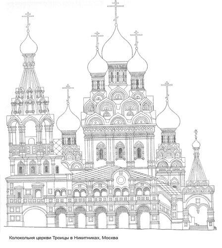 Колокольня церкви Троицы в Никитниках, фасад, Реконструкция г. Я. Мокеева