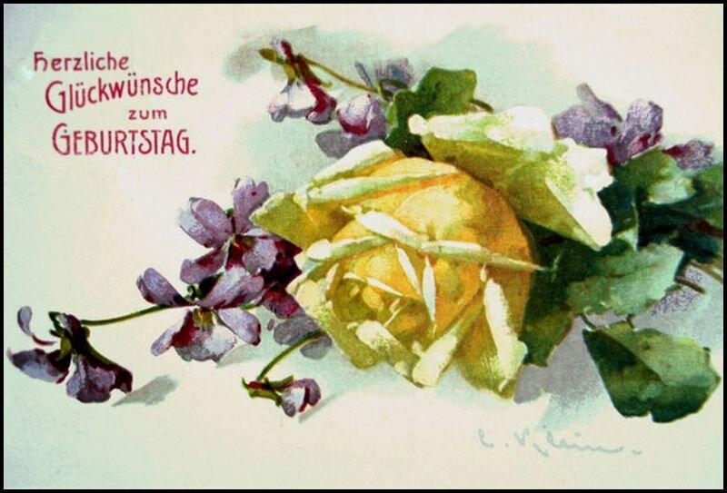 К. Кляйн. Сердечные пожелания счастья в день рождения. Розы и фиалки.