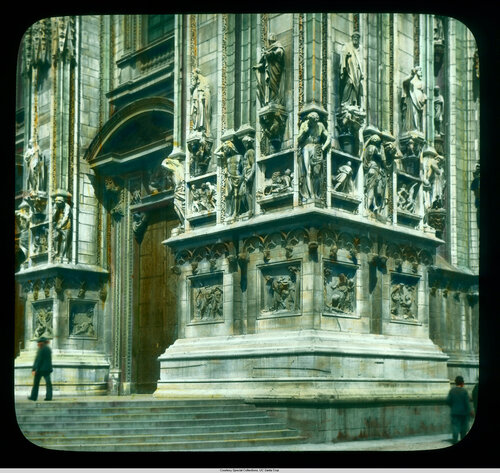 Milan. Cathedral (Duomo): exterior detail, south corner of the west facade