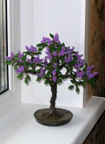 """Дерево из бисера """"Сирень """""""