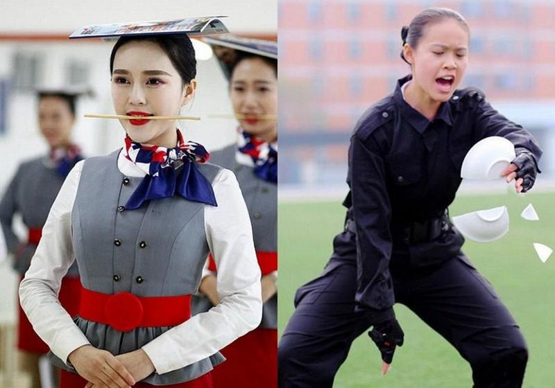 Суровые тренировки стюардесс китайских авиакомпаний