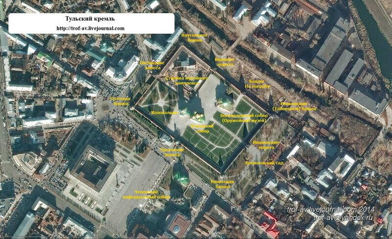 Тульский кремль, схема