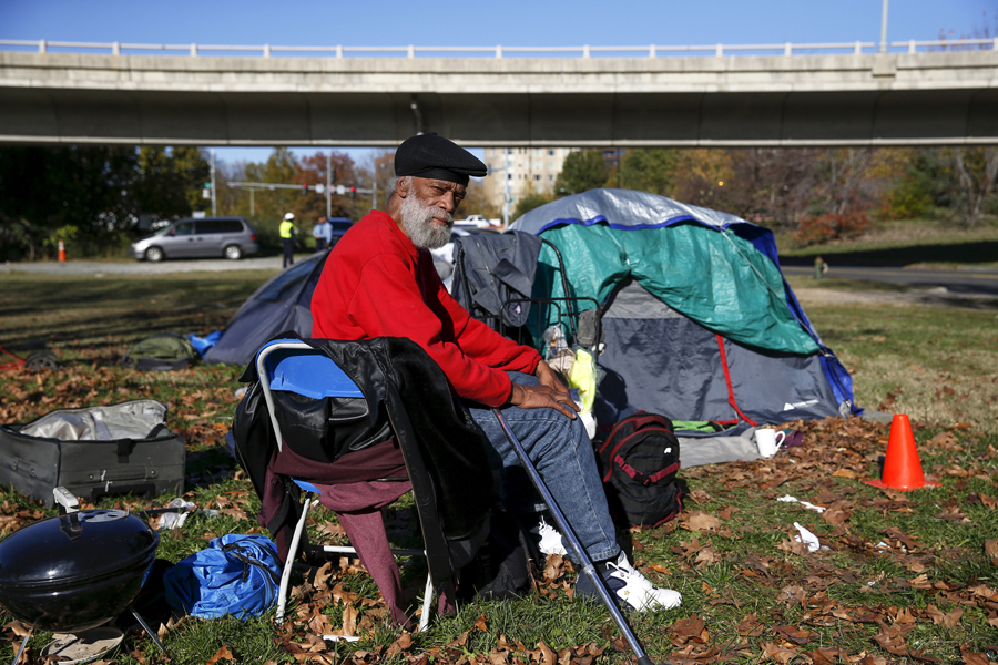 In Washington, D.C., Owen Makel, 65, who has been homeless for nearly 14 years and has lived at this