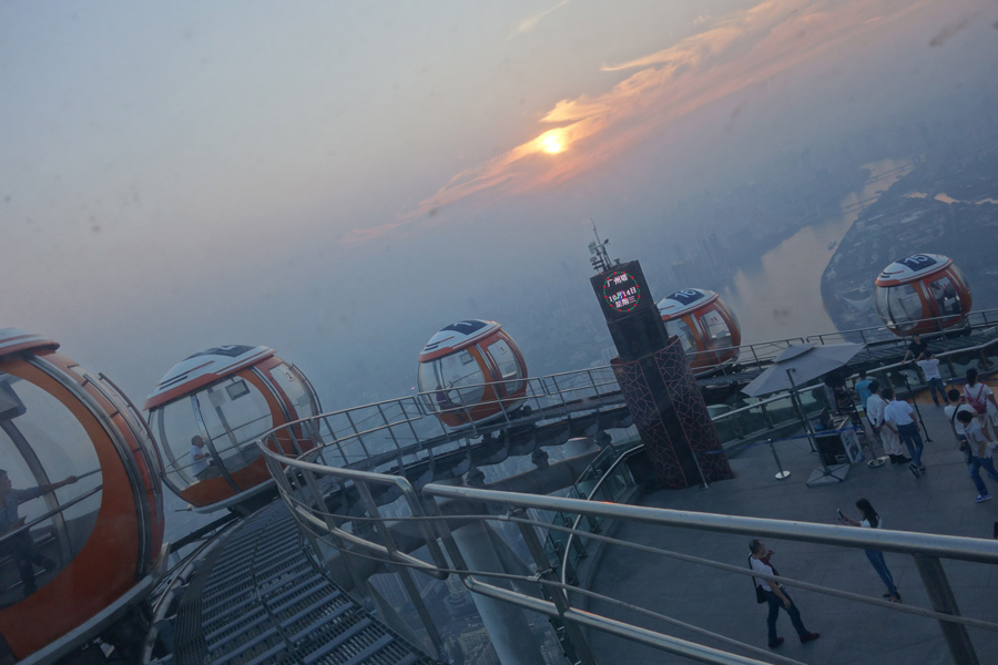 This photo was taken inside the bubble tram atop the Canton Tower in Guangzhou, China, on October 14