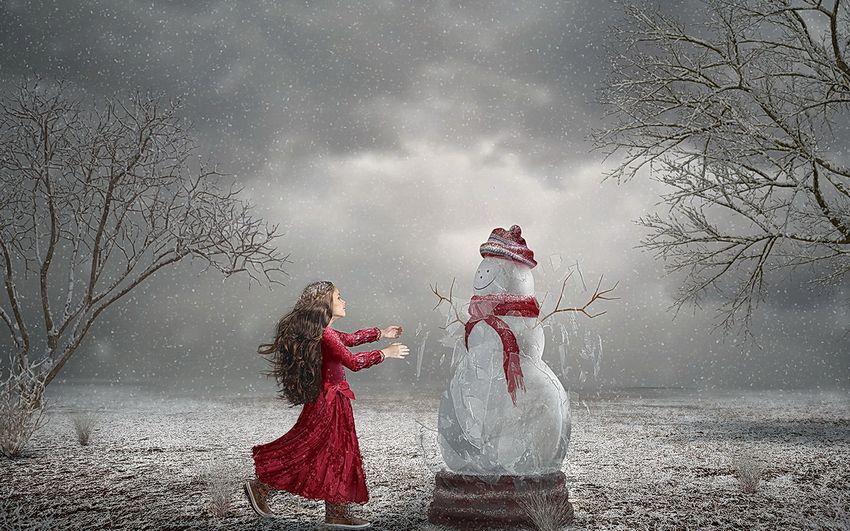 Новый год Снеговик и Девочка Сказка