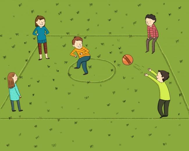 Количество участников : 5 Что понадобится: мяч Правила игры: наземле или асфальте чертится большой