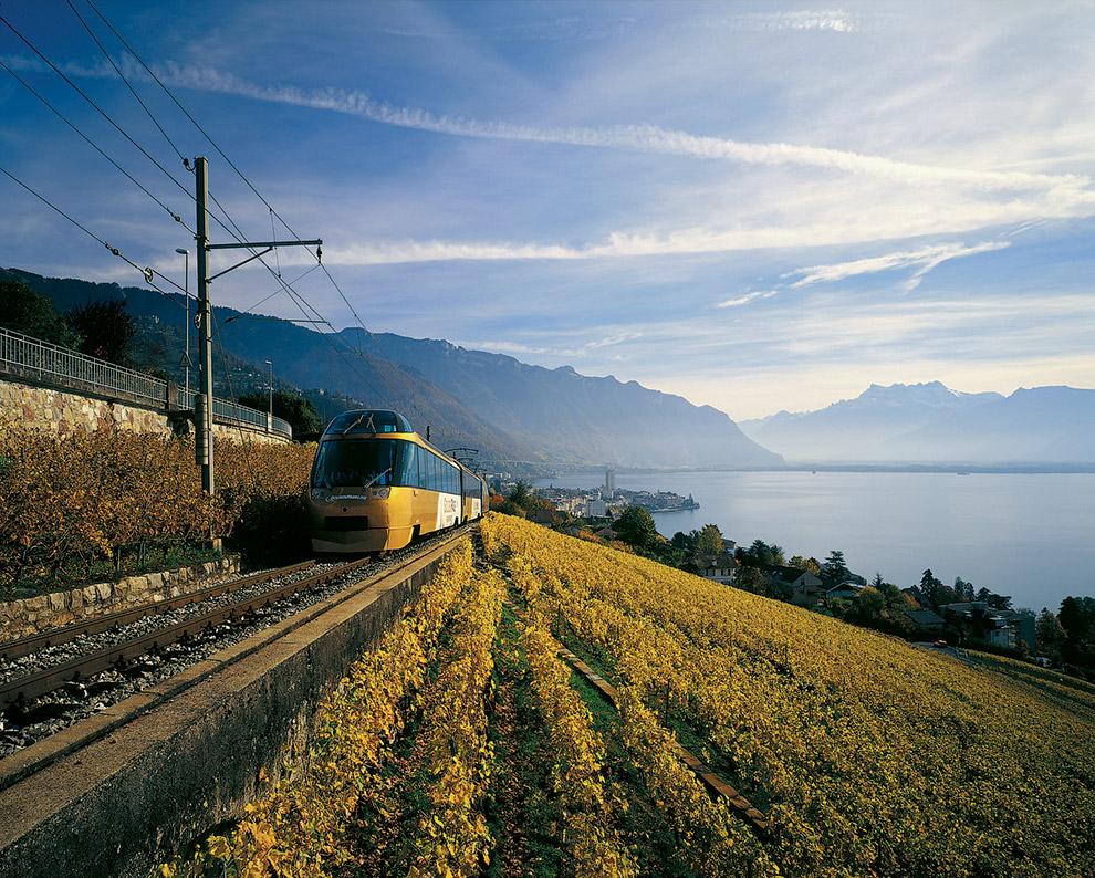 18. Стартовав в Монтре, поезд поднимается в Грюйер – на родину знаменитого сыра. Там он делает