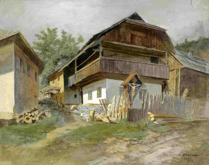 4Ladislav_Benesch_-_Motiv_iz_Podkorena-značilna_hiša_z_znamenjem   feature house.jpg