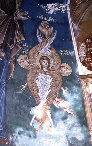 Тетраморф. Фреска из церкви в Убиси. Западная Грузия. Мастер Дамиан. XIV век