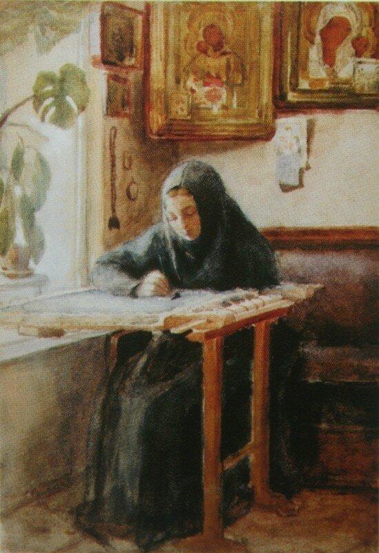 За вышиванием. Спокойствие    1880-е        Новокузнецкий художественный музей.